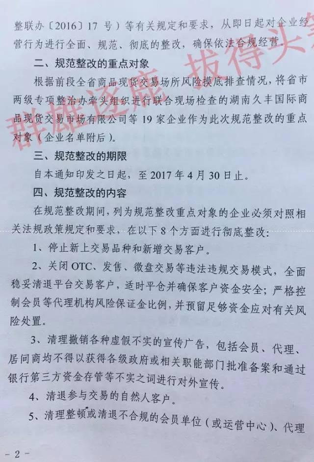 湖南省做好商品现货交易场所规范整改工作的通知